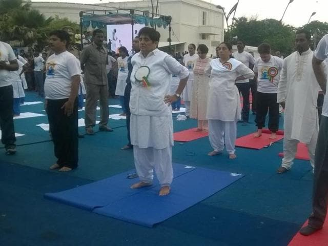 Lt Governor Kiran Bedi participates at  a yoga day camp   in Puducherry.G