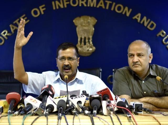 Delhi chief minister Arvind Kejriwal addresses a press conference in Delhi.