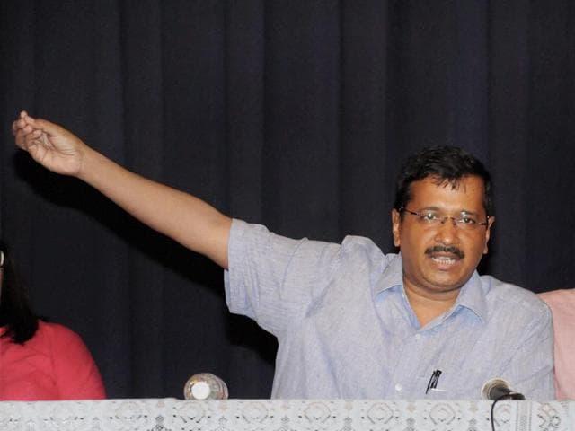 In this file photo, Arvind Kejriwal addresses volunteers in Panaji, Goa.