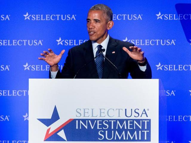 US President Barack Obama speaks at the SelectUSA Investment Summit at the Washington Hilton in Washington.