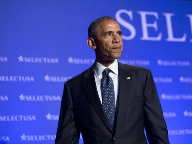 President Barack Obama waves as he walks off stage after speaking at the SelectUSA Investment Summit in Washington, Monday, June 20, 2016. The USPresident denounced the Senate's failure to pass gun control bills on June 21, 2016.