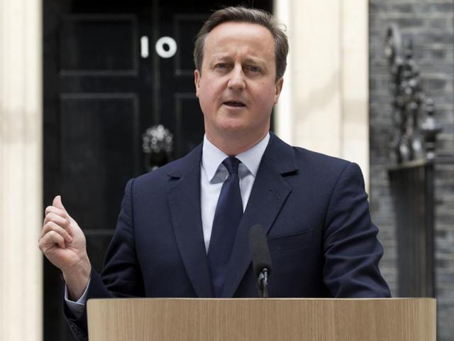 British Prime Minister David Cameron makes a statement appealing for people to vote to remain in the European Union outside 10 Downing Street in London on Tuesday.