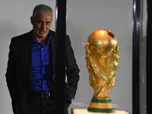 Adenor Leonardo Bacchi visits the Museum of Football at the headquarters of the Brazilian Football Confederation (CBF) before offering a press conference after being appointed as the new national football team coach, in Rio de Janeiro, Brazil.