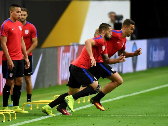 US forward Clint Dempsey (centre) trains with other members of the US team on the eve of their Copa America 2016 semifinal soccer match against Argentina at the NRG Stadium in Houston, Texas.