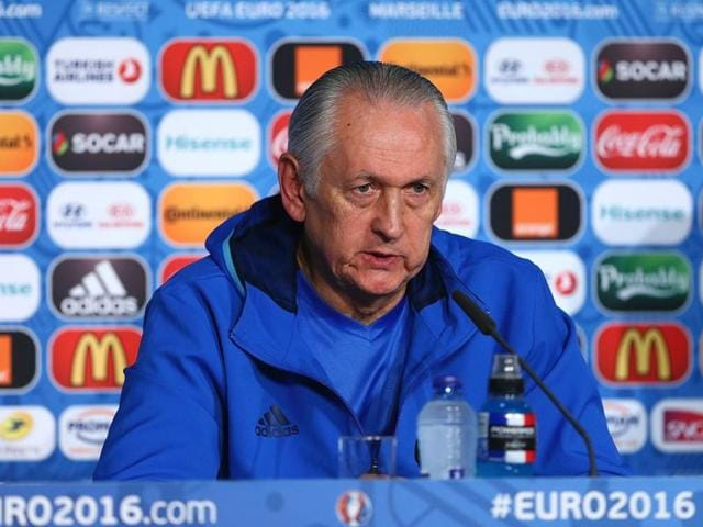 Ukraine's coach Mikhail Fomenko addresses a press conference at Stade Velodrome in Marseille, southern France.