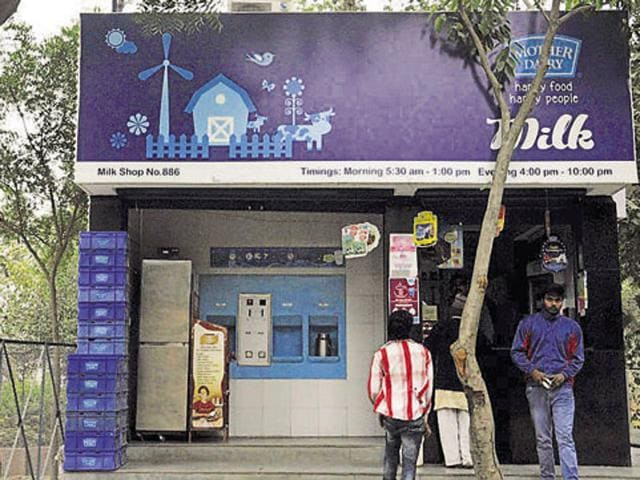 A Mother Dairy outlet in Ghaziabad, India.