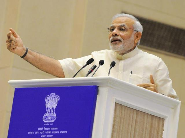 Prime Minister Narendra Modi addresses a ceremony at the launch of Smart Cities Mission in New Delhi