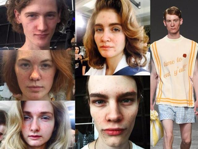 Not one model at Malaysian designer Moto Guo's Milan show took the runway without several blemishes to their skin. It looked like the pimples were not covered up or maybe even enhanced through make-up.