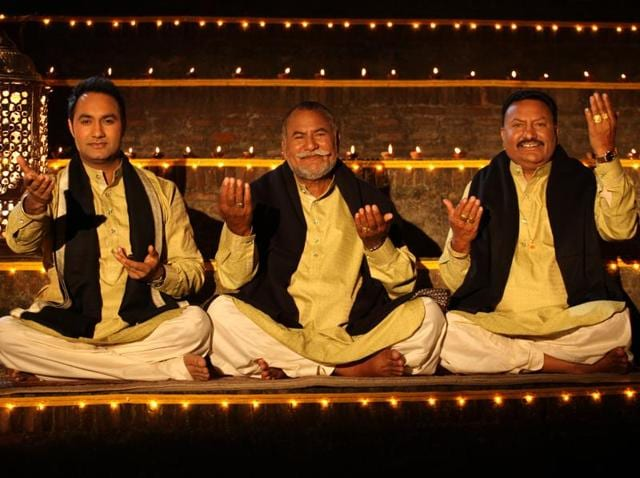 Lakhwinder Wadali with Puranchand Wadali and Pyarelal Wadali, also known as The Wadali Brothers,