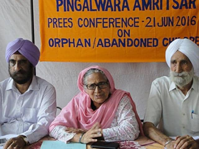 President of the All India Pingalwara Charitable Society Inderjit Kaur addressing the media on Tuesday.