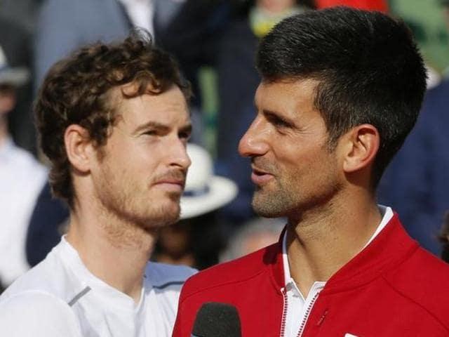 Novak Djokovic of Serbia against Andy Murray of Britain during men's singles Roland Garros clash, in Paris.