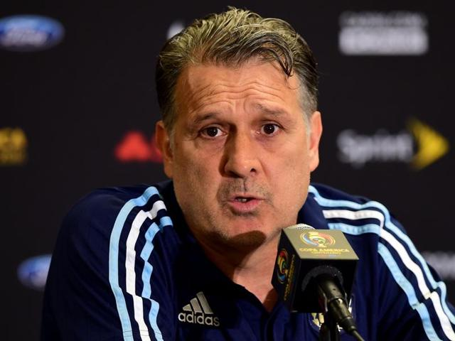 Argentina coach Gerardo Martino reacts during a press conference on in Houston, Texas.