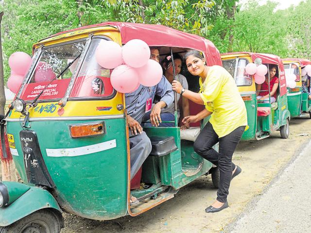 The first fleet of 20 pink autorickshaws was flagged off from the Harsaon police lines on Tuesday.