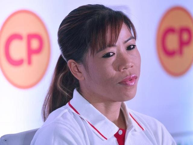 Boxing champion and brand ambassador Mary Kom speaks during an event in Bangalore.