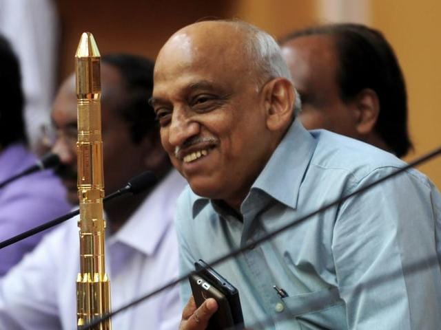 Isro chairperson Kiran Kumar Rao gestures as he addresses the media after the launch of CARTOSAT-2, along with 20 other satellites.