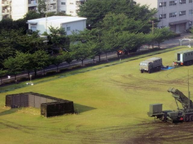 A PAC-3 surface-to-air missile launcher system is seen deployed at the defence ministry grounds in Tokyo on June 21, 2016.