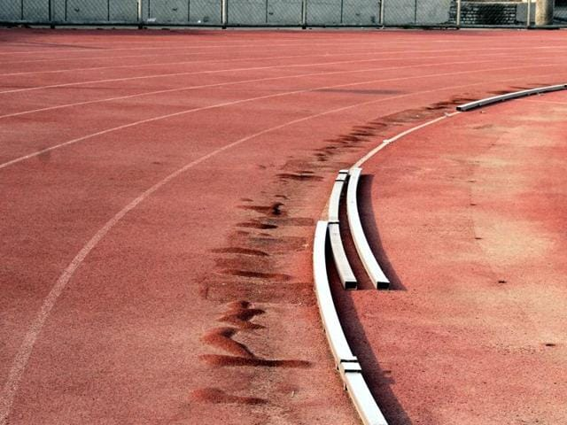 Synthetic track at Guru Nanak Stadium is in a bad shape.