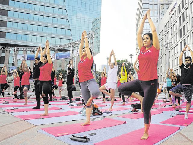 Over 500 people participated in the yoga session organised by Union ministry of ayush at CyberHub during the International Yoga Day on Tuesday.