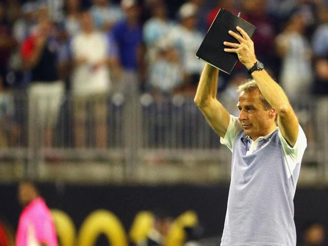 US' Jurgen Klinsmann is pictured during the Copa America Centenario semifinal football match against Argentina in Houston, Texas.