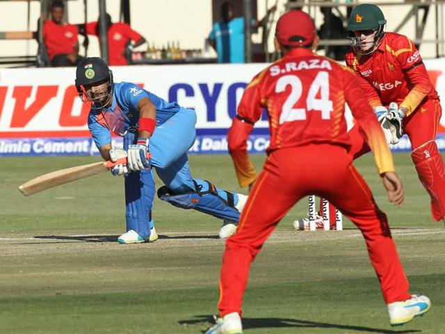 Mandipi Singh plays a shot during the the T20 International cricket match between against Zimbabwe at Harare Sports Club, in Harare.