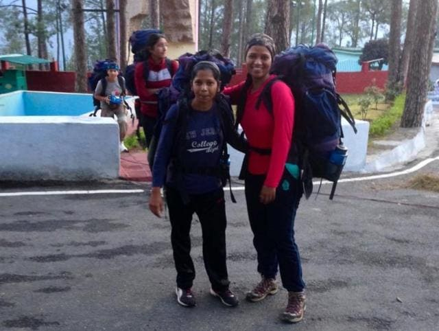Mountaineer Jaishri Dumbre (right) fell into a crevice and was  saved by her team's timely intervention.