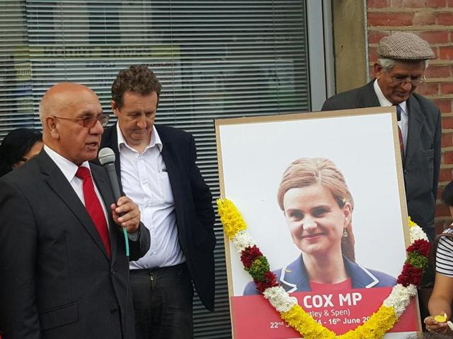 Senior Labour MP Virendra Sharma leading tributes in Southall to his slain party MP, Jo Cox, who was murdered last week in her west Yorkshire constituency.