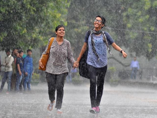 For some at the Sukhna Lake, the showers were a reason to smile, while others preferred to play it safe in Sector-17. Even as the temperature will fall, the weather will remain sticky with humidity predicted at 80-90%.