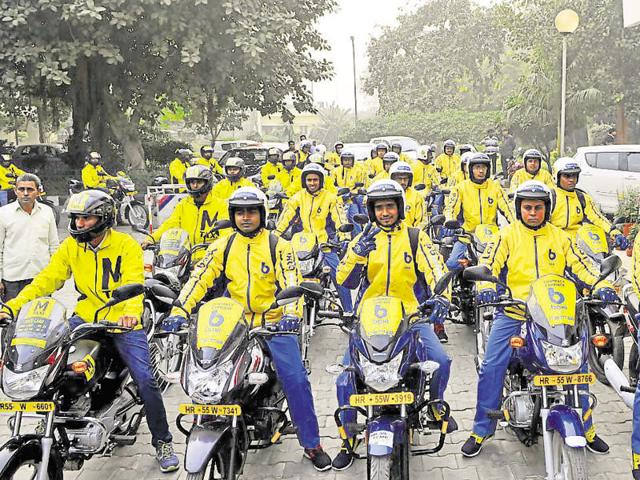 The bike-taxi service Baxi in Gurgaon. A similar, government-regulated service is being introduced in Mizroam's capital Aizawl.