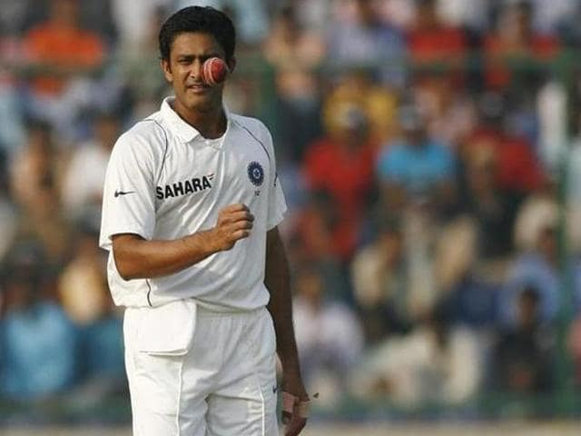 Anil Kumble during a match against Australia in New Delhi in 2008.