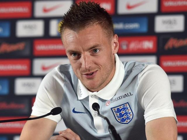 England forward Jamie Vardy attends a press conference in Chantilly.