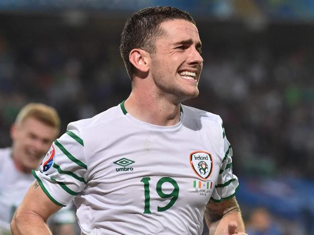 Ireland's midfielder Robert Brady celebrates scoring a goal during the Euro 2016 group E football match.