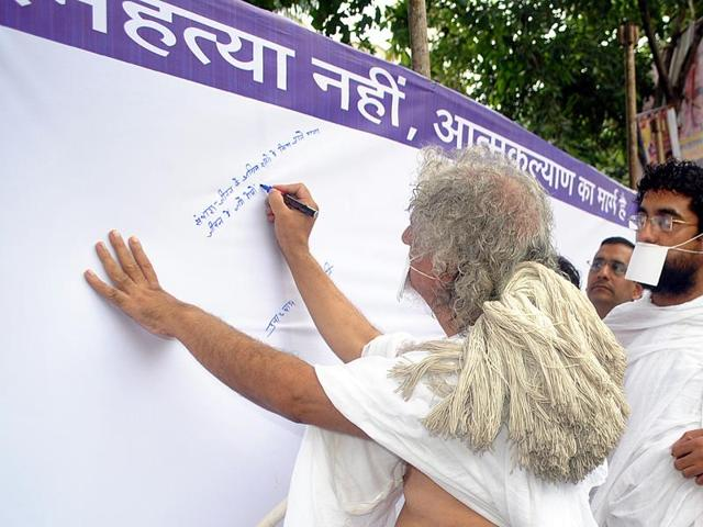Kolkata: People with a placard during an anti-suicide campaign.  Suicide is the biggest killer of 15- to 24-year-olds in India, followed by road traffic accidents, shows data.