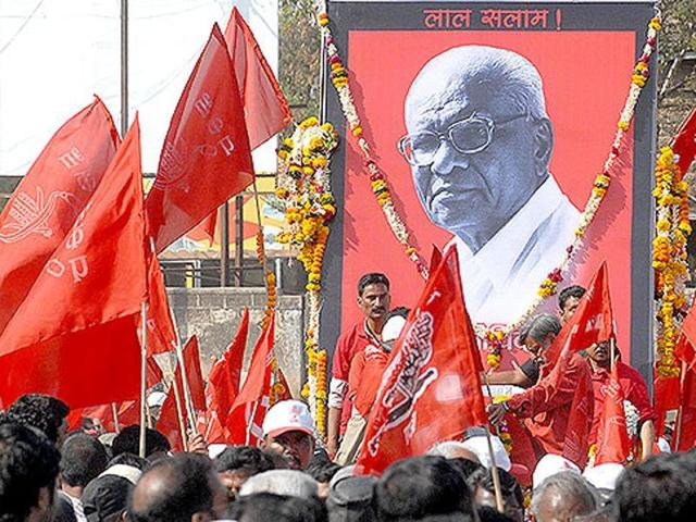 In this file photo, supporters can be seen participating in the funeral of CPI leader Govind Pansare, who was shot dead.