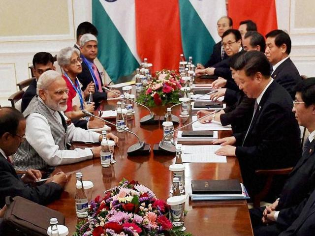 Prime Minister Narendra Modi with Chinese President Xi Jinping during a meeting in Tashkent on Thursday.