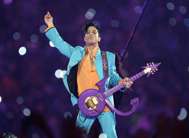 Prince performing at the Super Bowl XLI football game in Miami in 2007.