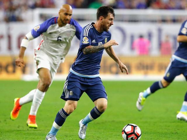 Lionel Messi of Argentina dribbles the ball in the second half against the US during a 2016 Copa America Centenario semifinal match at NRG Stadium.