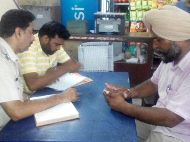 ASI Jaspal Singh (in pink) recording his statement on Friday.
