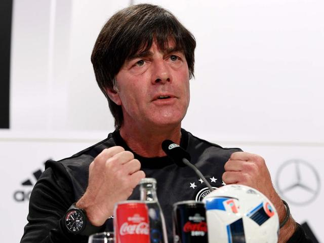 Germany's head coach Joachim Loew gestures as he holds a press conference in Evian-Les-Bains.