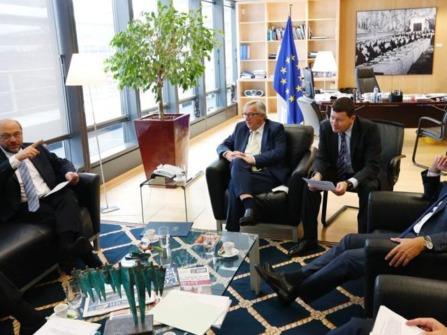 (From L) EU Parliament leader Martin Schulz, European Commission chief Jean-Claude Juncker, Juncker's Head of Cabinet, Martin Selmayr and President of the European Council, Donald Tusk are pictured during a meeting at the EU Headquarters in Brussels.