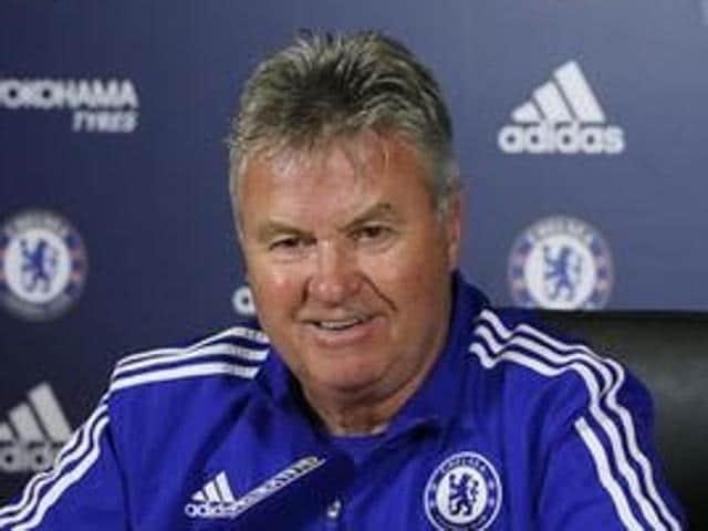 Former Russia coach and Chelsea manager Guus Hiddink during a press conference in England.
