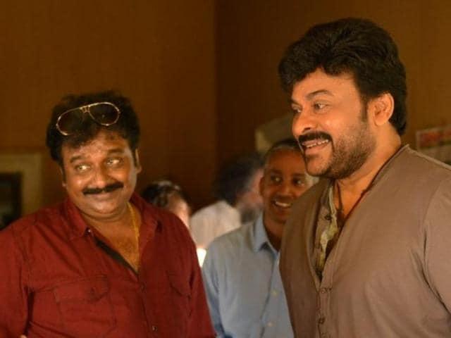 Chiranjeevi with director V V Vinayak (centre) and comedian Ali at the Kathilantodu set