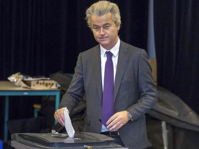 File photo of Geert Wilders, leader of the Dutch far-right Party for Freedom (PVV) as he  cast  his vote for the consultative referendum on the association between Ukraine and the European Union, in the Hague, the Netherlands, in this April 6, 2016 file photo.