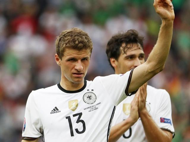 Germany's midfielder Thomas Mueller during the Euro 2016 group C football match between Northern Ireland and Germany at the Parc des Princes stadium in Paris.