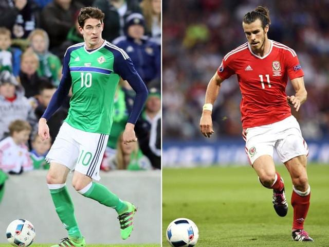 A combination picture shows Wales' forward Gareth Bale (right) and Northern Ireland's striker Kyle Lafferty.