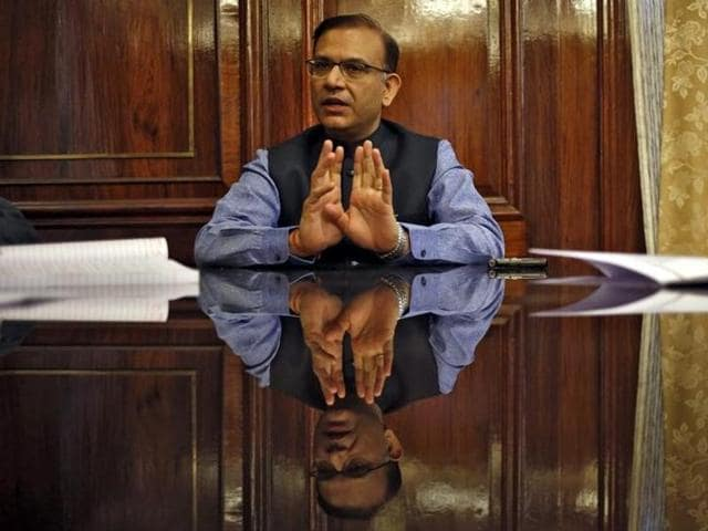 Finance minister Jayant Sinha gestures during an interview with Reuters in New Delhi.