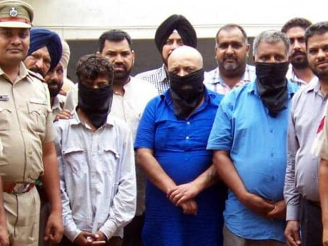 Accused Shiv Sena leader Amit Arora along with his accomplices in the Ludhiana police custody on Thursday.