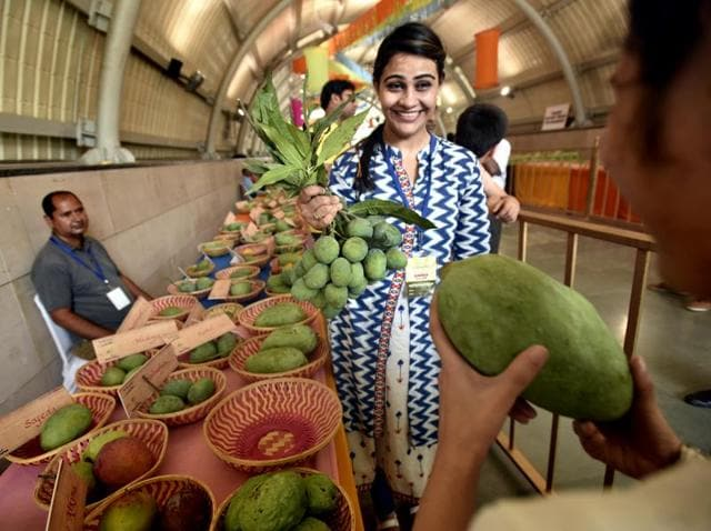 People check varieties of mangoes displayed at the Mango Festival  at Dilli Haat.