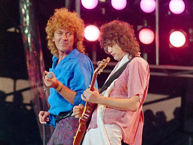 Led Zeppelin bandmates, singer Robert Plant, left, and guitarist Jimmy Page in a 1985 concert. During the trial, defence lawyers argued that the chord progression in question was very common and had been in use for more than 300 years.