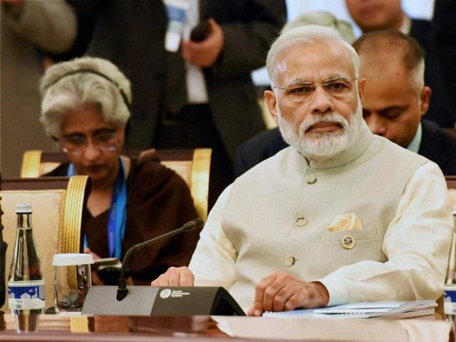 Prime Minister Narendra Modi during the SCO summit in Tashkent on Friday.