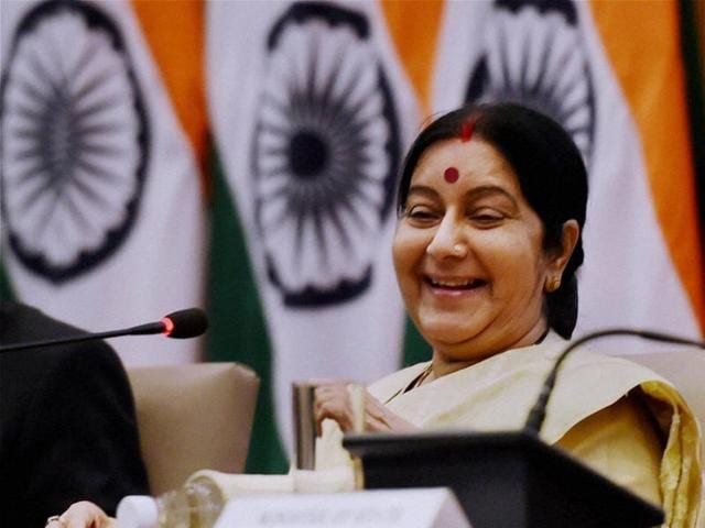External affairs minister Sushma Swaraj at a press conference in New Delhi.